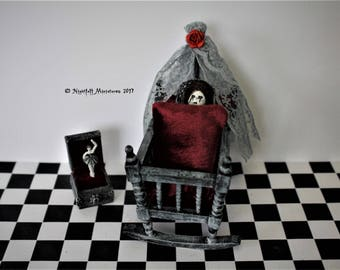 Dollhouse Miniature Spooky Gothic Haunted House Nursery Cot and creepy baby doll  in 1:12 scale