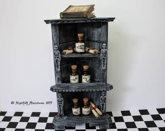 Dollhouse Miniature Distressed Spooky Halloween Witchy Potions  Cabinet in 1:12 scale