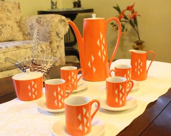 Vintage Jonas Roberts China Tea -Coffee Pot Set Hemi Orange Retro ( 15 pcs. ) Japan