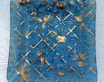 Gorgeous Midcentury Teal Blue Glass with Gold Starburst Square Tray - Sputnik Style