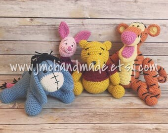 Winnie the Pooh and Friends Crochet Set - Pooh, Tigger, Piglet, and Eeyore!!