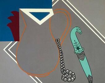 PATRICK CAULFIELD - 'Still life with dagger' - original archival quality print - large (Curwen Press, London)