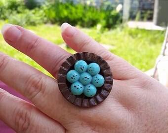 Sparrow nest ring - Bird nest ring - Blue eggs nest