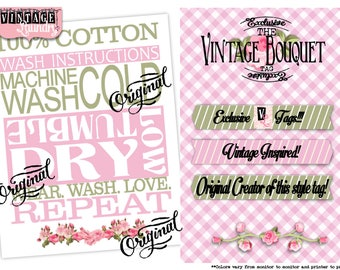 Vintage Boutique-Care Instruction Tags-PNG JPG Download File-Wash Instructions Tag-Label-Garmet Tags-Labels-Clothes Clothing Tags-Sew In Tag