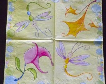 2 Vielseidig Verlag dragonflies/flower paper cocktail napkins