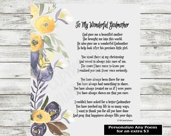 Godmother Poem, Godmother Poetry, Gift for Godmother, Godmother Printable, Godmother Print, Gift from Godchild, Christening Godmother Gift