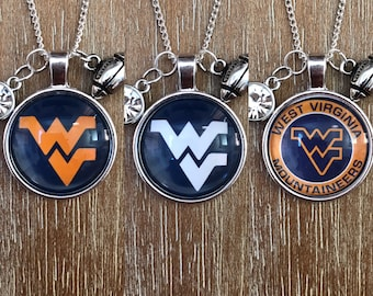 West Virginia University Mountaineers College Sports Inspired Fan Charm Necklace