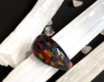 Rainbow Glass Chunky Ring (Size 7)