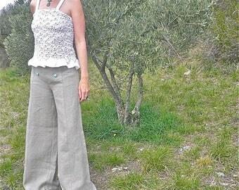 "Wide linen pants string color ""Sugar"""