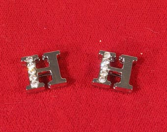 """BULK! 30pc """"letter H"""" 8mm slide charms in antique style silver (BC1375-H)"""