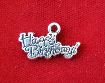 """10pc """"Happy birthday"""" charms in antique silver (BC822)"""
