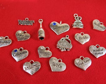 """SET! 15pc """"wedding"""" deluxe charms set in antique silver style (wedding set)"""