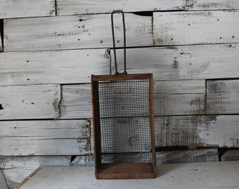 Unique Handmade Wood and Wire Basket, Handmade Sifter, Primitive Antiques, Rustic Home Decor, Vintage Wedding, Photo Prop, Primitive Basket