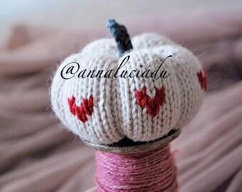 knitting pumpkin with heart  print,  knitting pattern, pumpkin amigurumi, knitting  PDF Instant Download