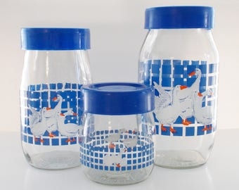 Vintage 1987 Blue Geese Glass Canister Container Set