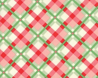 SWELL CHRISTMAS Fabric Collection 1 Yard Christmas Plaid Light Green Red Moda Fabric designed by Urban Chiks MAY Delivery