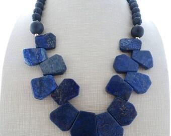 Blue lapis lazuli necklace, chunky necklace, bib necklace, black lava and onyx necklace, beaded necklace, stone choker, contemporary jewelry