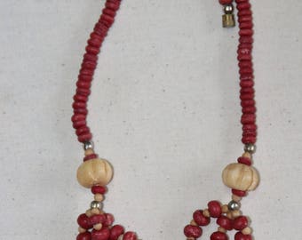 Vintage 80s/90 Ethnic Bone and Red Bead Necklace