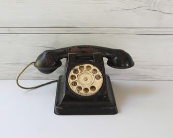Vintage Black Metal Child's Toy Telephone, Vintage Rotary Dial Children's Toy Telephone