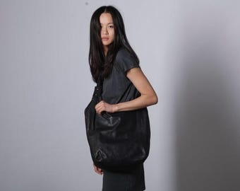 Black leather bag- Soft leather bag - Cross body leather bag-Maxi Bag