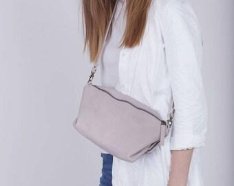 Bohemian Crossbody, Leather Crossbody, Shoulder Bag, Cross Body Bag, Soft Leather Handbag, Beige Bag, Womens Purse, Adjustable - Martin Bag