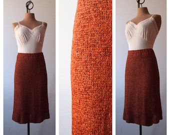 VTG 1930s Rust Orange Bonnie Parker Hand Crocheted Ribbon Skirt