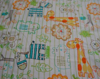 Baby & Toddler  Cotton and Minky Blanket * Little Zoo Animals