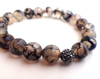 Agate bracelet , Beaded bracelet , Healing bracelet , Gift for her , Gift for girlfriend , Agate woman , Protection bracelet , Womans gift