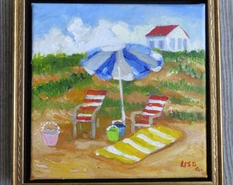 Original Painting Beach Chairs with Umbrellas Beach Dune Scene