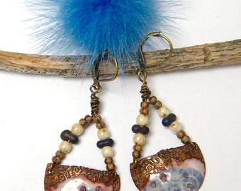 Rustic earrings poetic, enameled copper, glass beads, brass, women gift idea