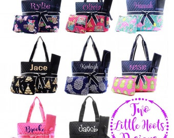 Diaper Bag ~ Monogrammed Diaper Bag ~  Quilted Diaper Bag ~Baby ~ Baby Gifts~ Expected Mother ~ Free Embroidery