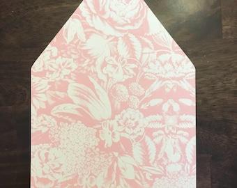 5x7 A7 Euroflap Metallic Shiny Wedding Invitation Envelope Liner Pink Blush Floral Flower