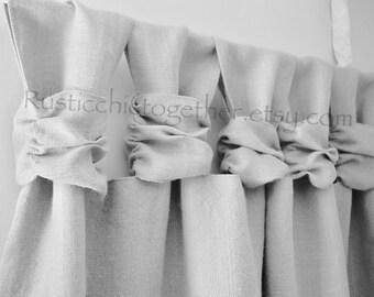 Burlap Curtain   Ash Gray Burlap   Wide Ruched Tabs