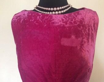 Vintage Pink Velvet Dress - M