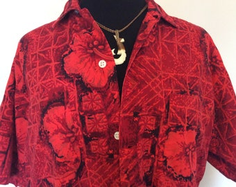 Vintage Red Hawaiian Shirt - L