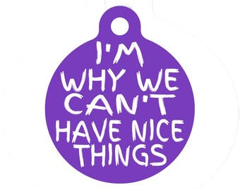 Personalized Round Pet ID Tag-I'm Why We Can't Have Nice Things | Custom Pet ID Tag | Dog Collar Name Tag | Double Sided