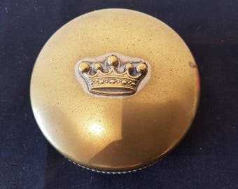 Vintage Powder Jar Box with Queen Crown on Top 1930's Brass and Silver Metal
