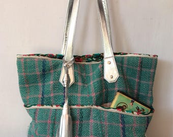 Kantha tote - silver leather tote - tote bag - antique gudari - kantha bag - diaper bag - tote