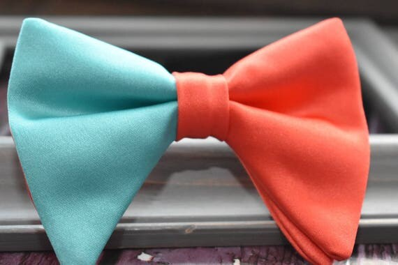 Kids coral and aqua green floppy / butterfly bow tie  for Baby, Toddlers and Boys (Kids Bow Ties) with Braces/ Suspender