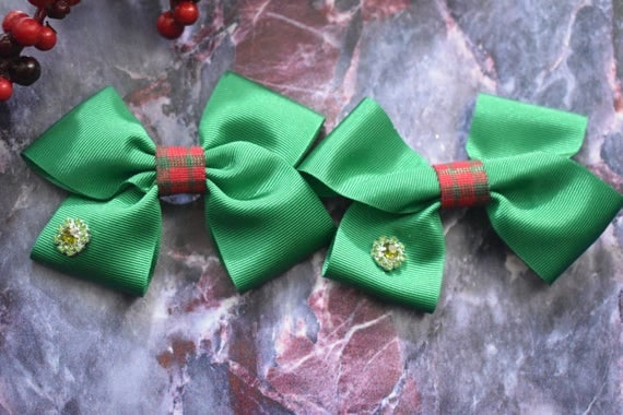 Pair of Tartan Red and Green bow barrettes / hair clips / pigtail clips / pony tail clips / christmas bows / flowergirl bows / birthday bows