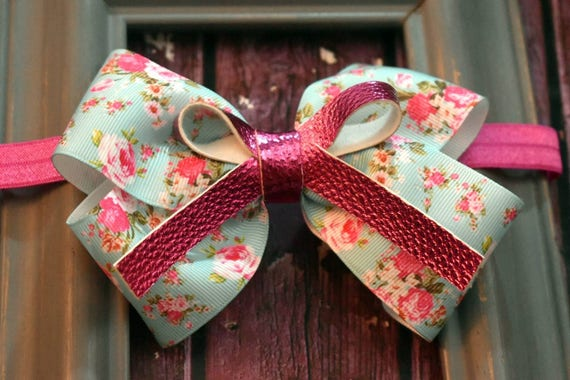 Pretty Blue and Pink Floral Grosgrain with leather bow - Baby / Toddler / Girls / Kids Headband / Hairband / Barrette / Hairclip / Pastel