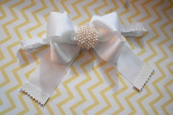 White christening /baptism bow with rhinestone - Baby / Toddler / Girls / Kids Headband / Hairband / Hair bow / Barrette / Hairclip