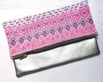 Tribal Hot Pink & Silver Faux Leather Foldover Clutch - Gift for her, Birthday, Anniversary, Bridesmaid