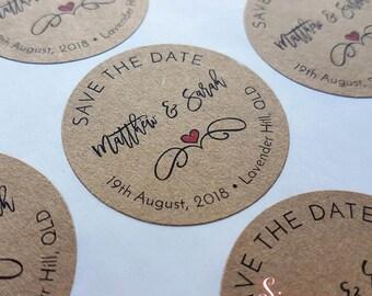 Save the date Kraft Brown Wedding Envelope Sticker Seals x 48