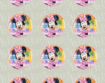 Disney Minnie Mouse Bowtique Edible Icing Cupcake or Cookie Decor Toppers