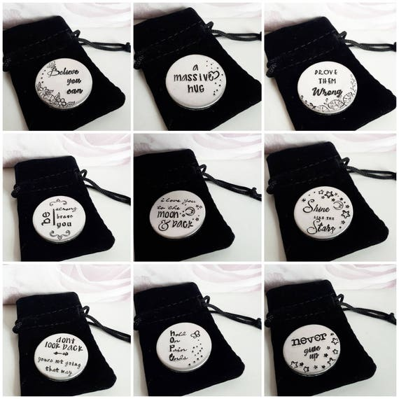 Handstamped pocket token, large custom pocket disc, motivational quotes, inspirstional gift