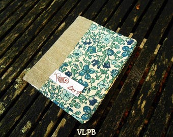 Beige linen and liberty Meadow blue card holder
