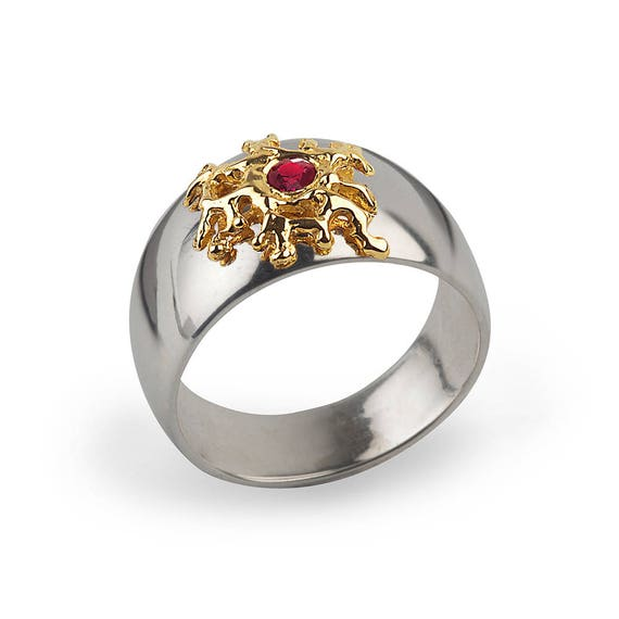 Mens Wedding Rings Australia: SILVER CORAL Gold Ruby Ring Mens Ruby Ring For Women Unique