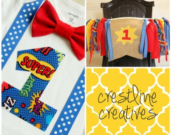 Last Minute Momma Set! Superhero 1st Birthday Bodysuit & Highchair Banner