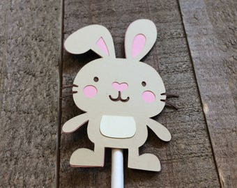Bunny Rabbit Cupcake Topper Forest Animal Woodland Critter Birthday Baby Shower Decor Decoration
